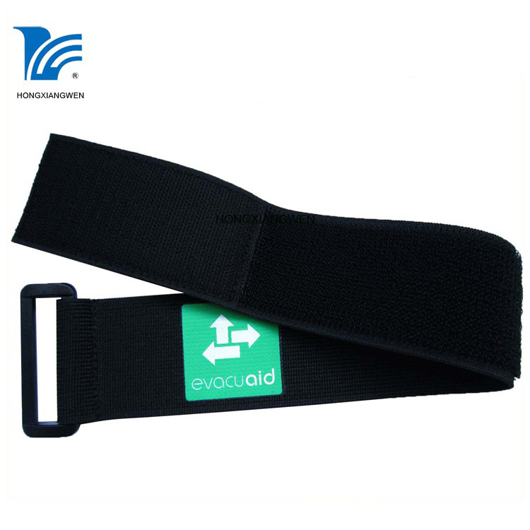 Custom Flexible Lint-free Elastic Band  Reusable Hook Loop Strap with Buckle